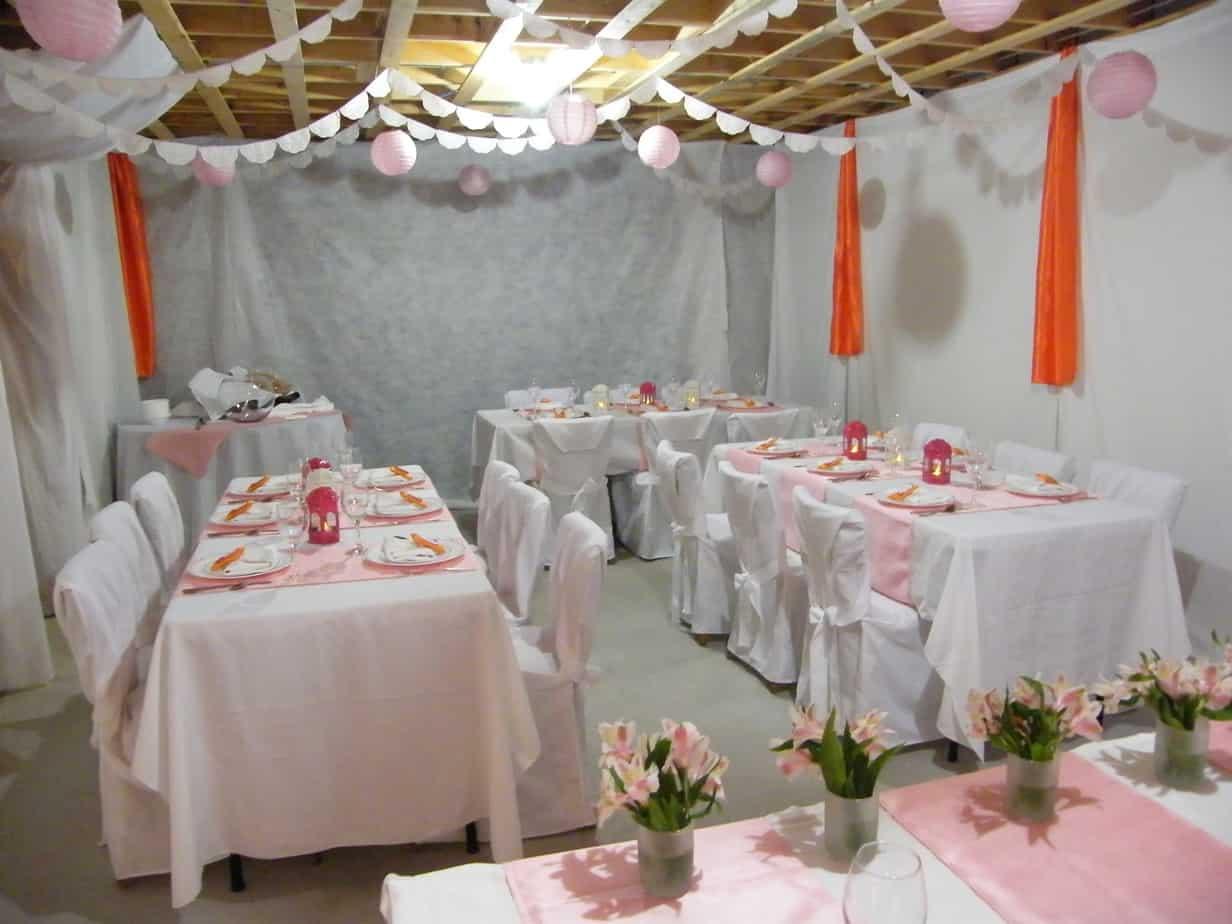 Wedding shower basement makeover fynes designs fynes for How to decorate a basement