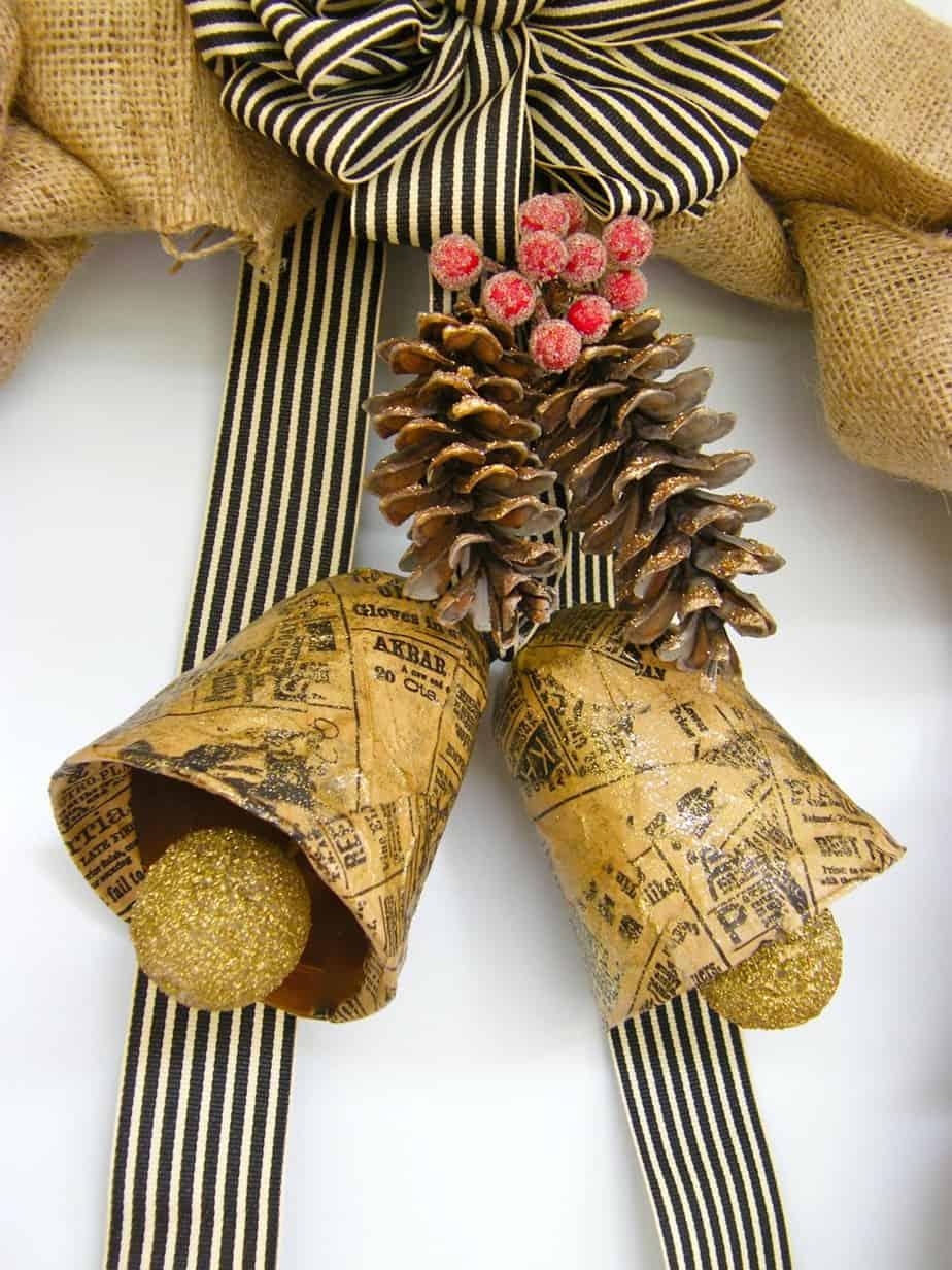 Burlap Wreath with Vintage Bells-12 Days of Door Decor- Day#2 ...