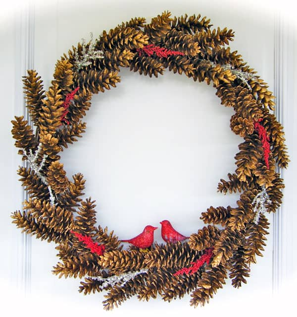 A Golden Pinecone Wreath The 12 Days Of Door Decor Day 1 Fynes
