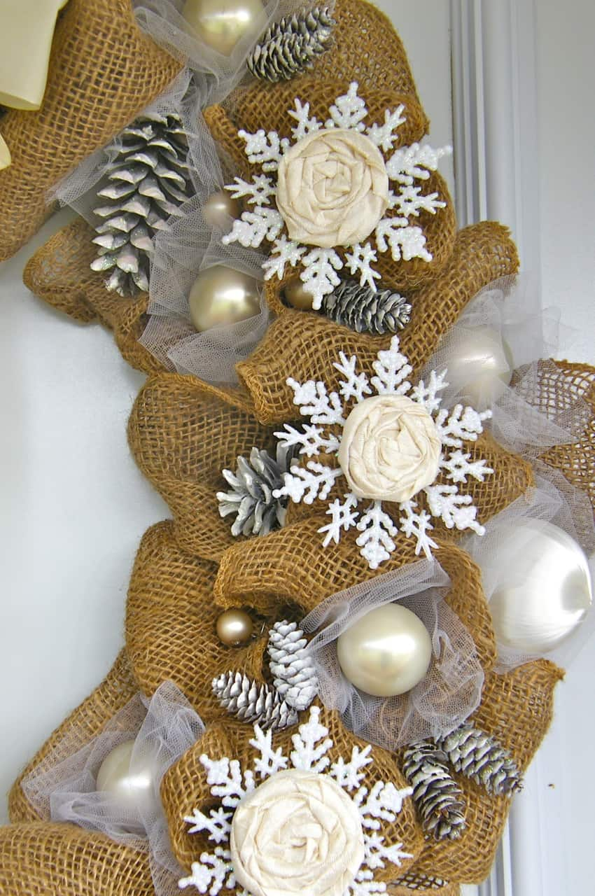 Elegant Burlap and Snowflake Wreath - FYNES DESIGNS | FYNES DESIGNS