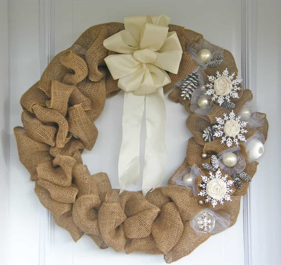 Elegant burlap and snowflake wreath fynes designs Burlap xmas wreath