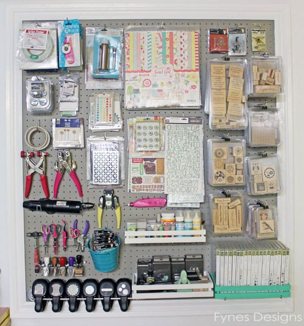 I Used Pegboard Hooks To Hang The Larger Tools, A Screwdriver Rack To Hold  My Scissors, The Handle Stamp Storage I Found At My Moms. ...