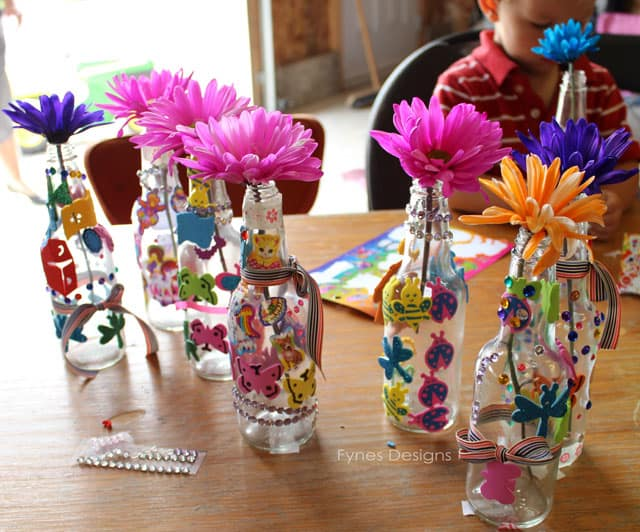 Craft Ideas For Kids At Home Part - 24: These Were The Little Craft The Kids Made To Take Home. I Acquired These  Vinegar Bottles From An Auction. A Few Foam Stickers, Rhinestones, And  Ribbon Made ...