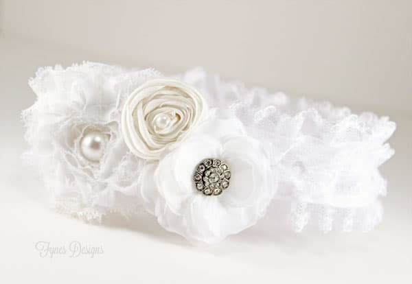 DIY White Wedding garter made completely with May Arts Ribbon