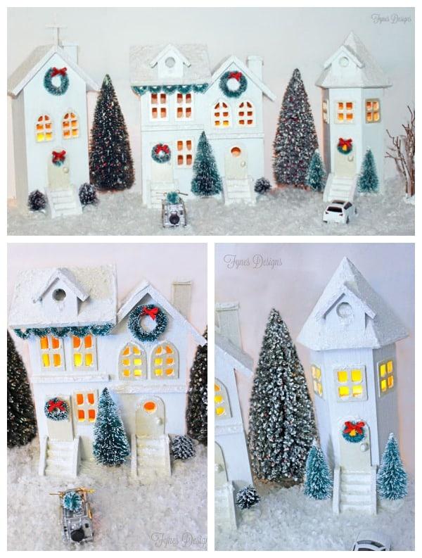 Christmas Birdhouses Crafts.Easy Diy Christmas Village Fynes Designs