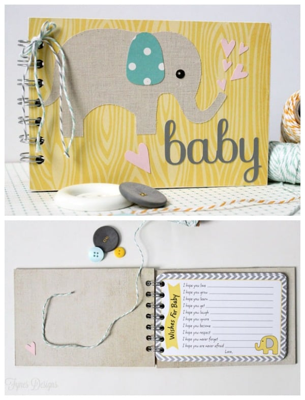 Create this easy Baby Wishes book using #xyron and #misskatecutables. #baby #babyshower #babywishesalbum #babyelephant