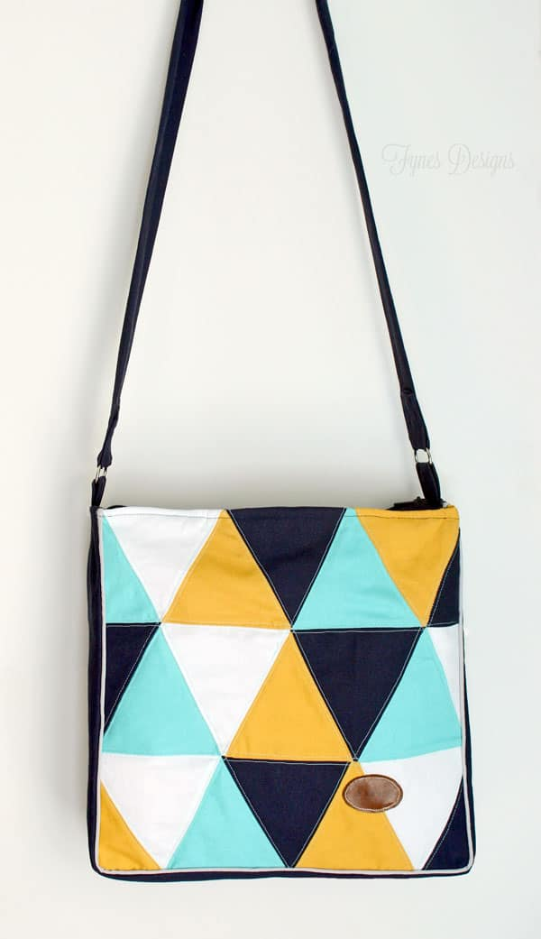 traingle tote bag #sewing #totebag #mint #navy #mustard