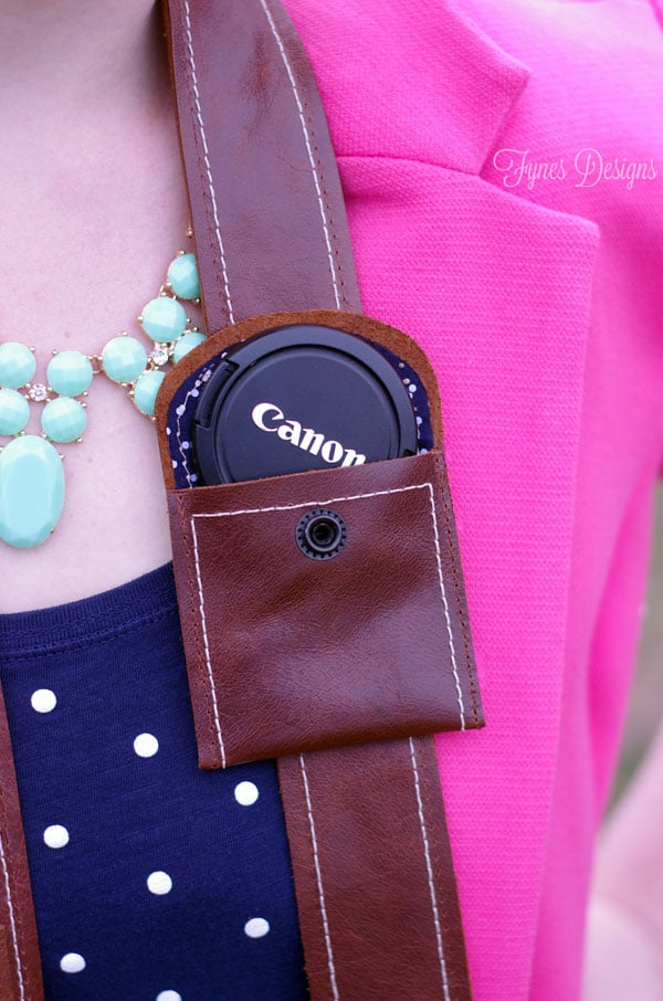 Lens cap pocket on a leather camera strap- Free pattern