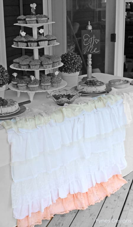 I Started With A While Flat Twin Bed Sheet And Gathered Each Lace Strip  Along The Top Edge To Ruffle It. Then Sewed Each Layer To The Bed Sheet  Starting On ...