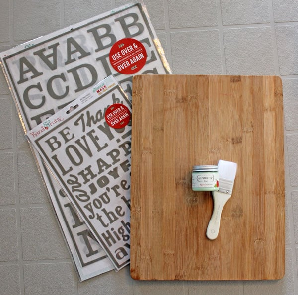 Use a dollarstore cutting board to paint a wood sign
