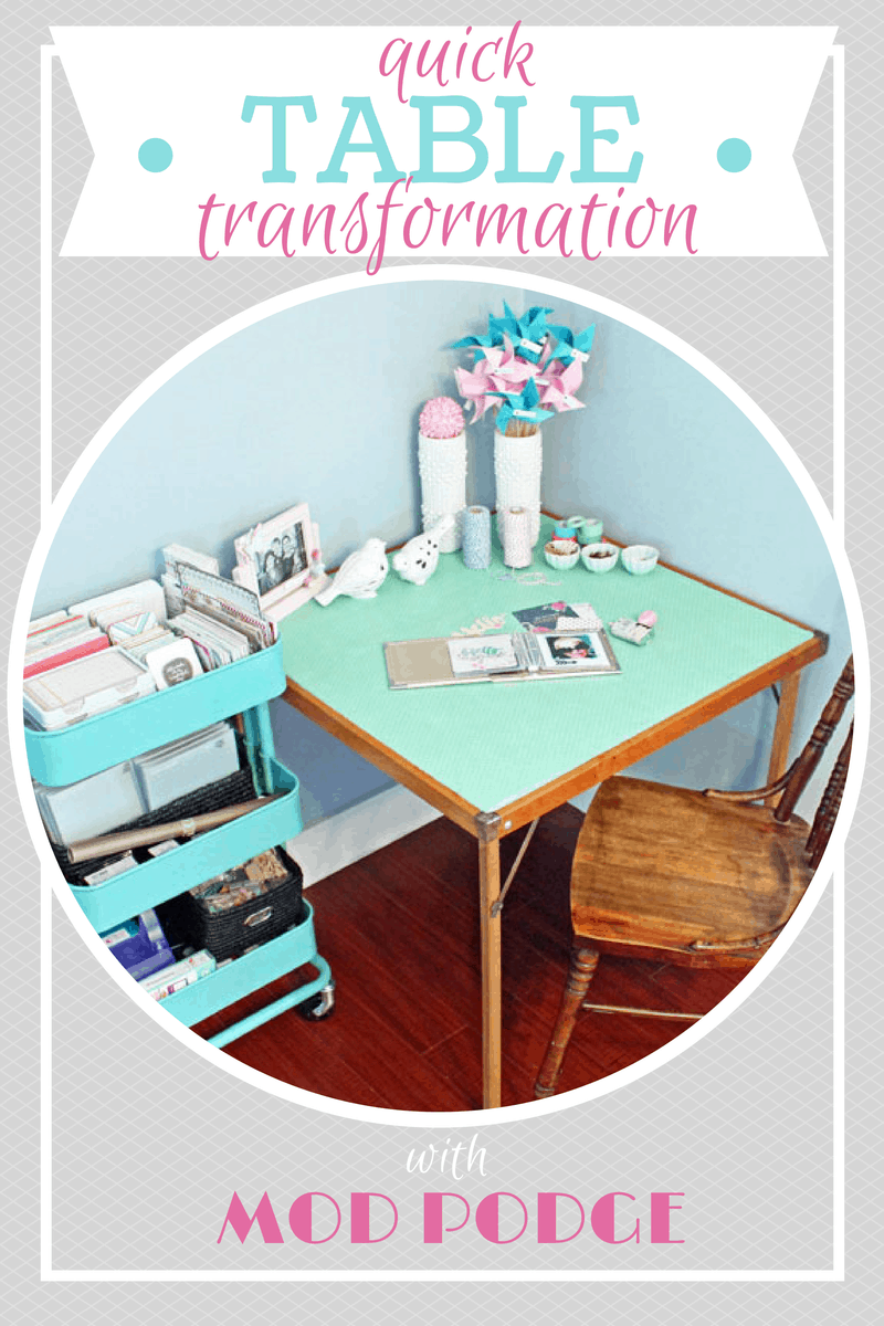 Refresh an old table in minutes with wrapping paper and Mod Podge!