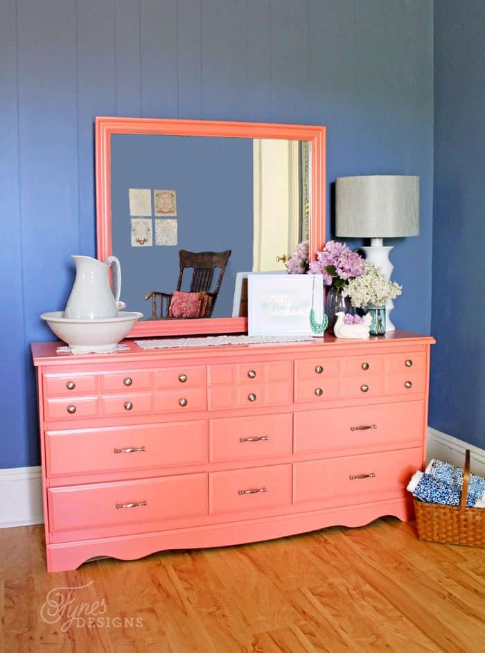 Coral Painted Dresser Makeover Fynes Designs Fynes Designs