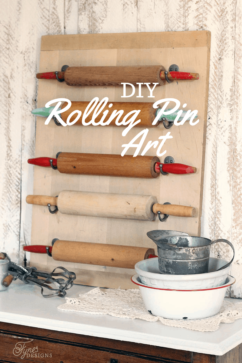 easy diy rolling pin wall art fynes designs. Black Bedroom Furniture Sets. Home Design Ideas