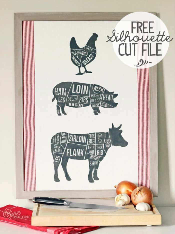 Fabric Printed Butcher Diagram With Silhouette Cut File