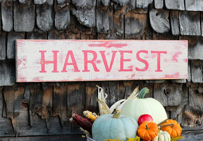 ... how the Harvest sign turned out. A perfect match for fall decorating