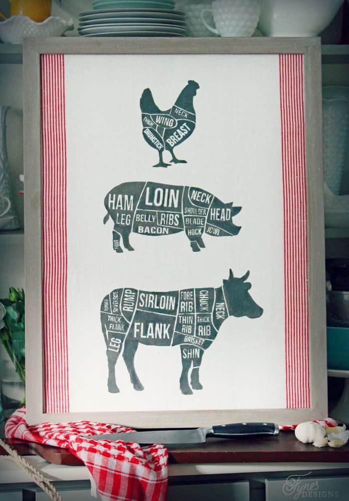 fabric printed butcher diagram with silhouette cut file fynes