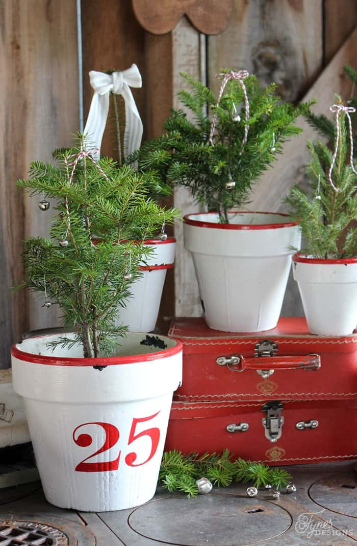 Enamel Inspired Christmas Tree Pots Fynes Designs