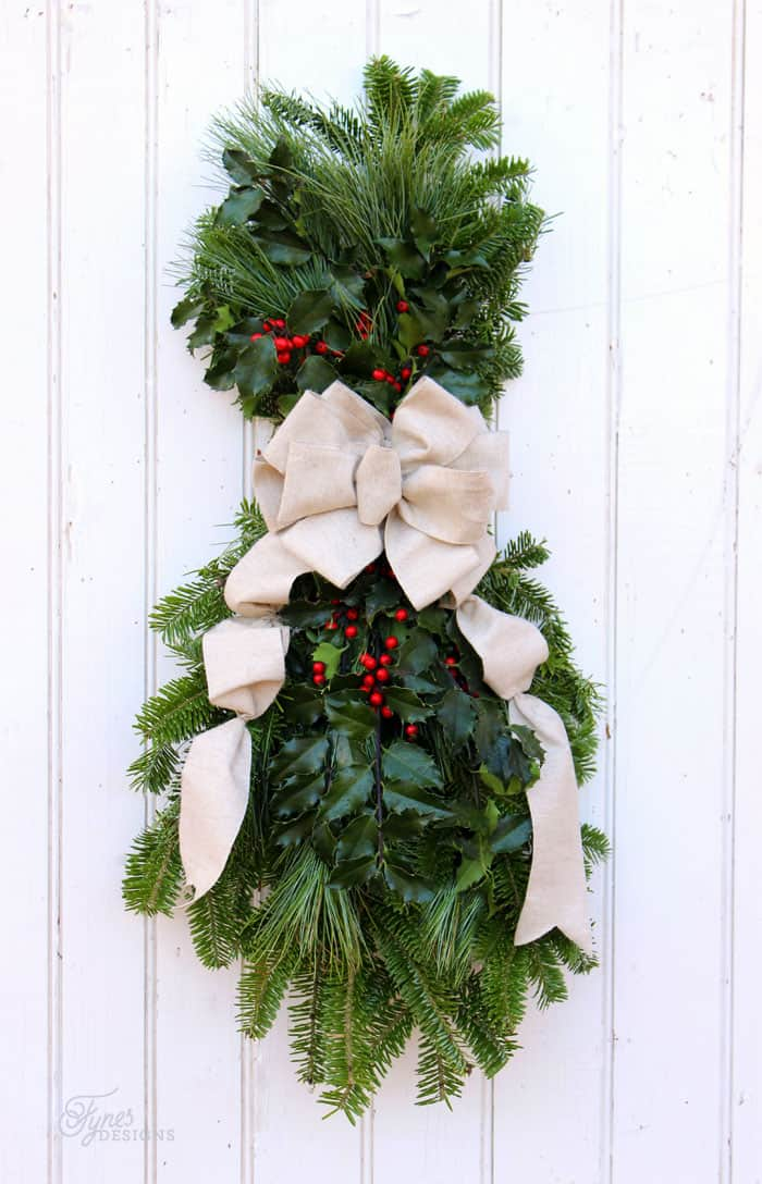 how to make a christmas swag fynes designs fynes designs - Natural Outdoor Christmas Decorations