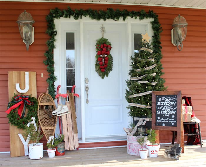 "Front porch decor with Free ""Let it Snow"" Silhouette Cut file"