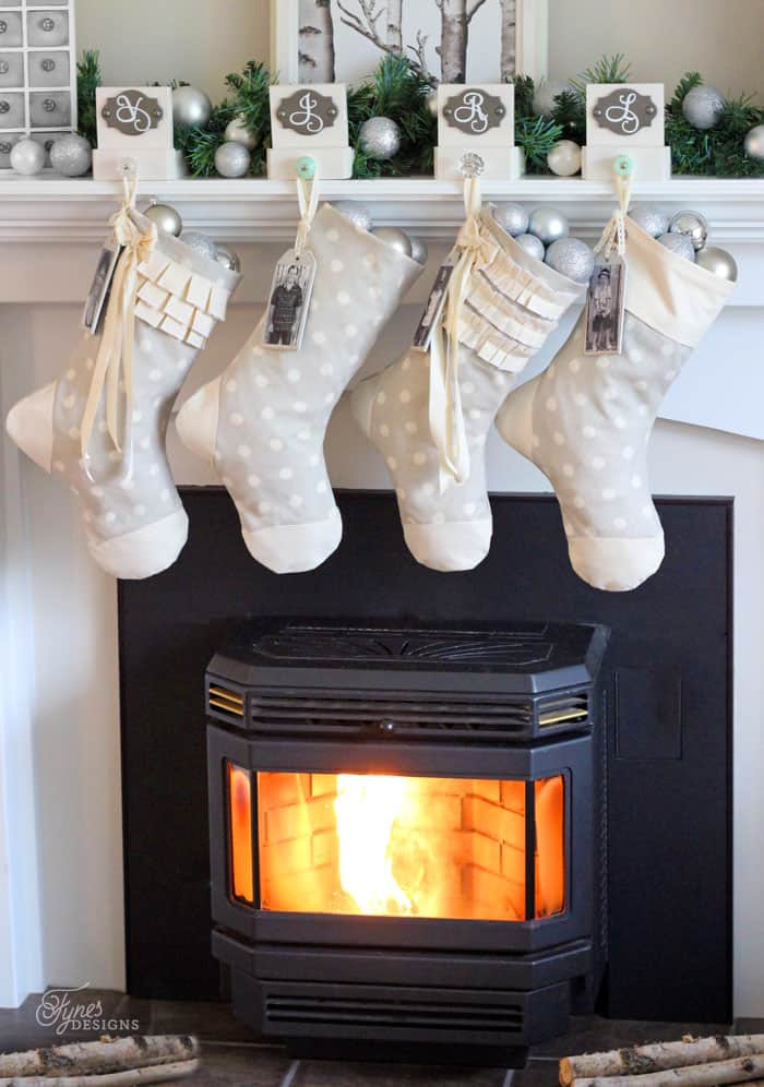 Easy sew personalized christmas stockings one item challenge im actually in love with the whole set up i cant wait to get them up at my own house this pretty fireplace belongs to my friend jill solutioingenieria Image collections