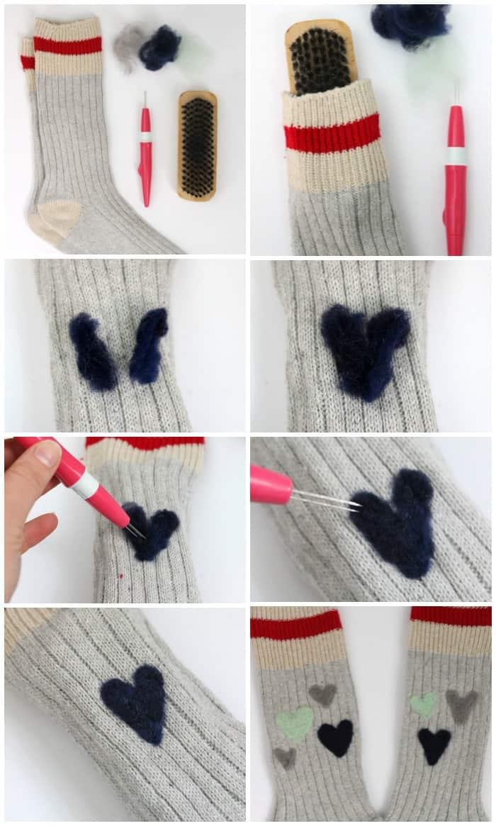 Needle felted wool socks cdnhandmadeholiday fynes - Needle felting design ideas ...