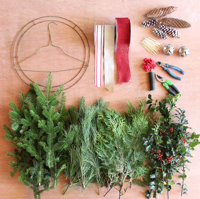 to start you will need to gather a few christmas wreath supplies - How To Make A Christmas Wreath
