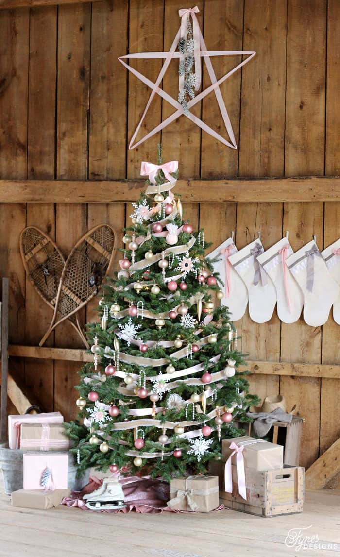 The whole vision for this Christmas stated when I came across so vintage pink bulbs at a thrift shop, and then adding in a few new items.