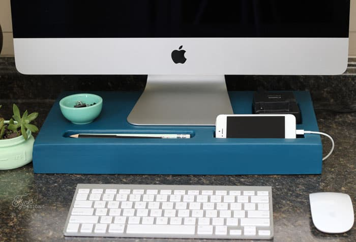 DIY Monitor Riser and Charging Station | FYNES DESIGNS