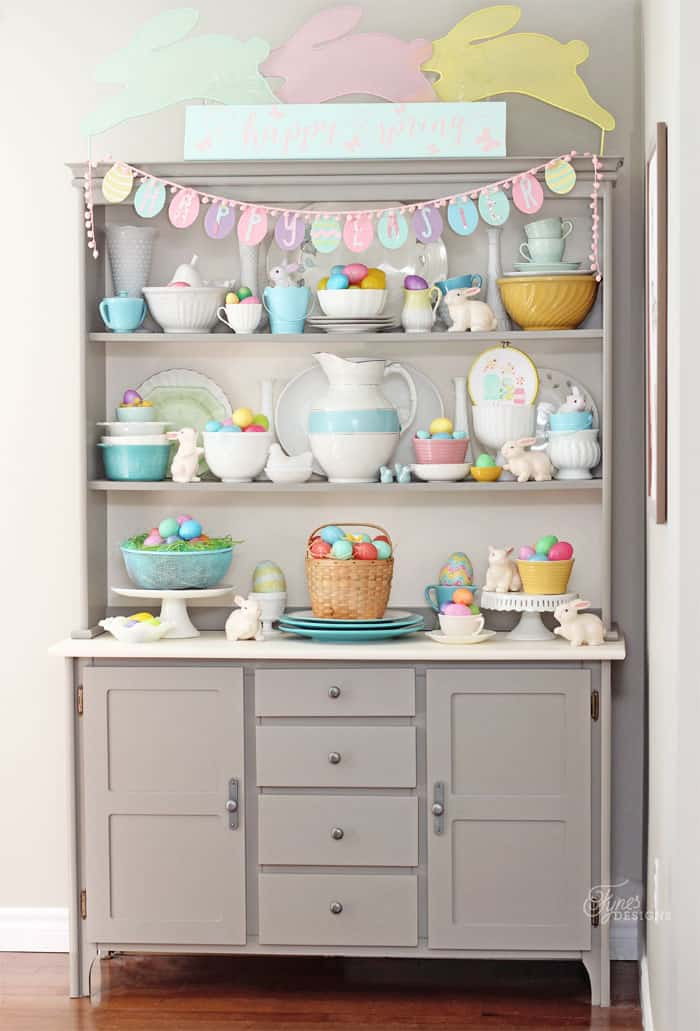 Bright easter hutch decor fynes designs fynes designs for Hutch decor