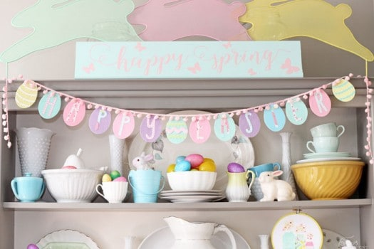 happy Easter Egg garland made from a dollar store craft