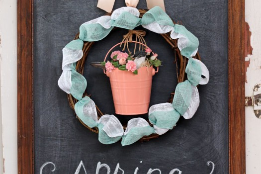 Spring Ribbon Wreath with a bird in a bucket