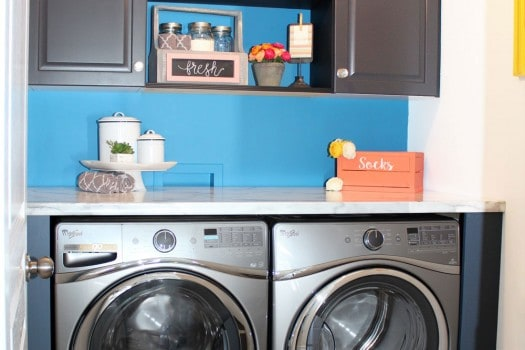 built in laundry room with instock fixtures from The Home Depot
