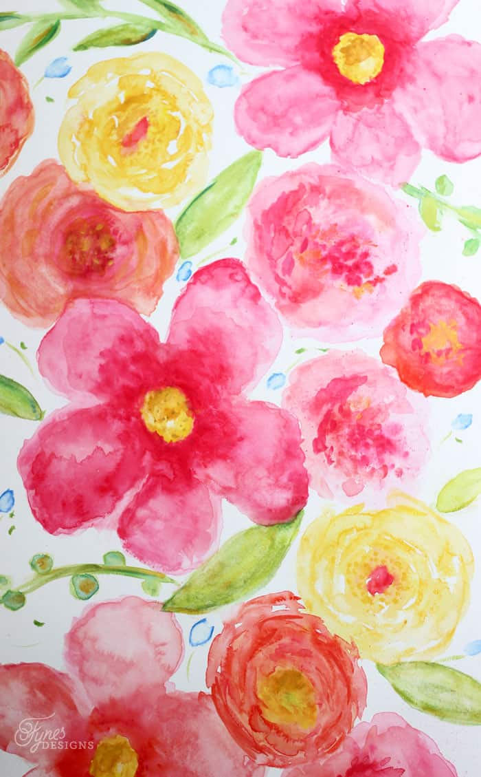 Beginner floral watercolor painting fynes designs for Easy watercolor for beginners