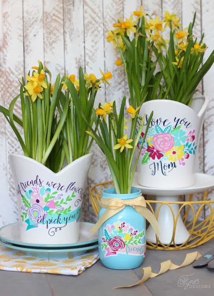 Gift idea plant pot decals with free silhouette cut file for Flower pots design images