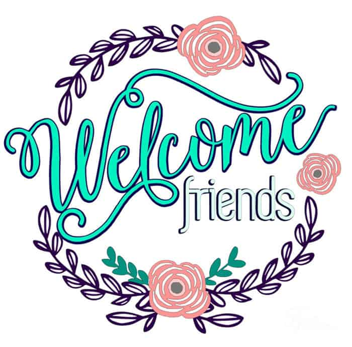 welcome friends vinyl door decal free silhouette cut file