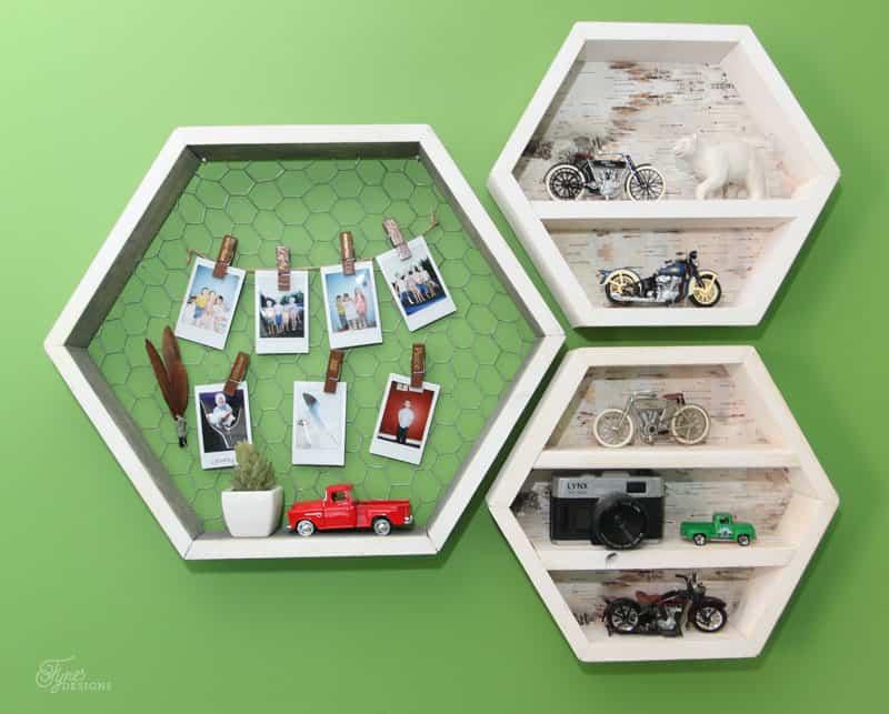 DIY Hexagon wall shelves