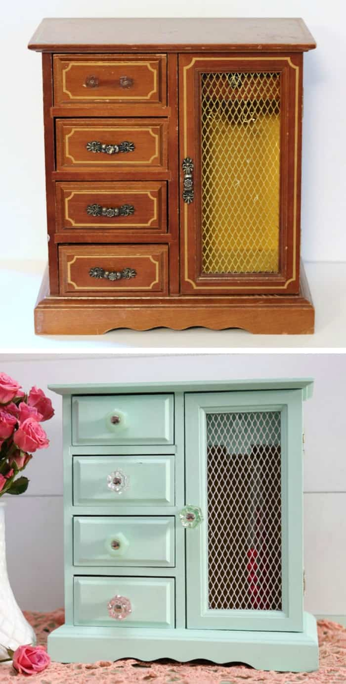 Upcycled old jewelry box fynes designs fynes designs for Old jewelry box makeover