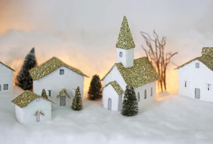 Cardboard Christmas Houses.Little Village Houses Big Holiday Messes Fynes Designs