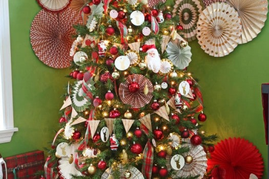 Pinwheel Christmas Tree and other paper decorations- This house has 10 trees, click to see them all!