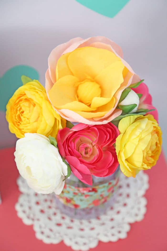 Crepe paper flowers from Craftberry Bush Crafternoon kit